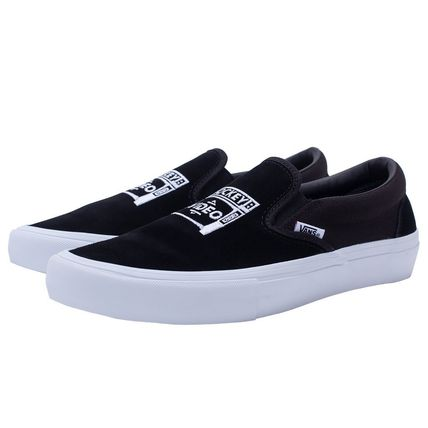 Unisex Suede Street Style Collaboration Plain Logo Sneakers