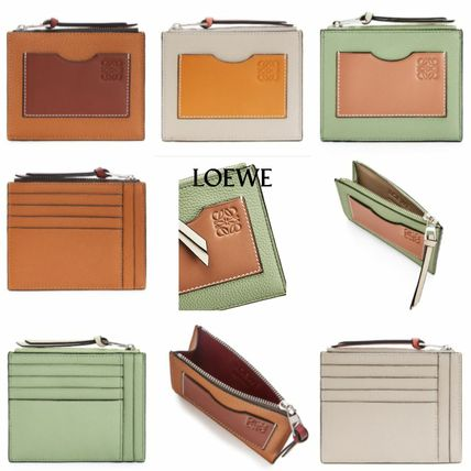 LOEWE SMALL VERTICAL WALLET Unisex Plain Leather Long Wallet  Small Wallet Card Holders