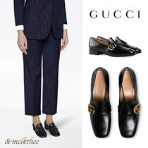 GUCCI GG Marmont Leather Formal Style  Logo Loafer & Moccasin Shoes