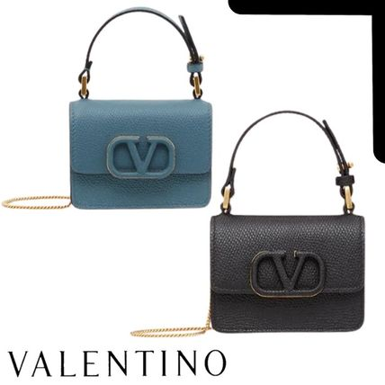 VALENTINO Casual Style Calfskin Chain Plain Leather Party Style