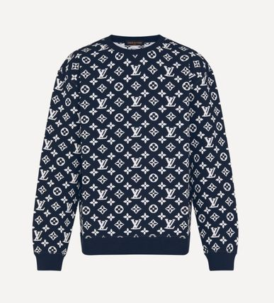 Louis Vuitton MONOGRAM Crew Neck Monogram Long Sleeves Cotton Logo Luxury