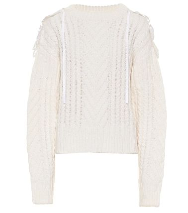Casual Style Wool V-Neck Long Sleeves Plain Lace