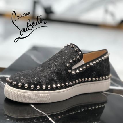 Christian Louboutin PIK BOAT Rubber Sole Lace-up Casual Style Suede Velvet