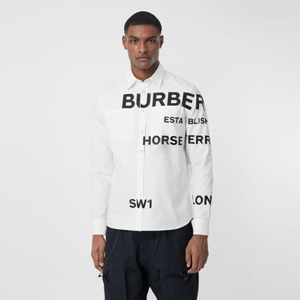 Burberry Street Style Long Sleeves Cotton Oversized Logo Luxury Tops