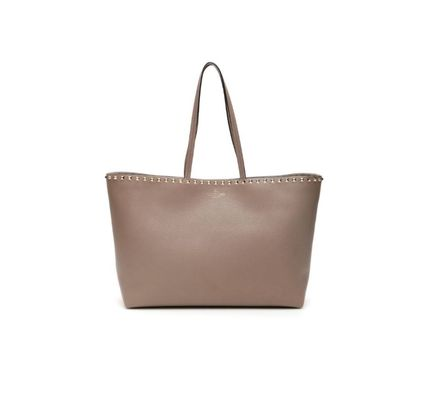 VALENTINO Casual Style A4 Plain Leather Office Style Totes