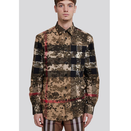 Burberry Other Plaid Patterns Camouflage Long Sleeves Luxury Shirts