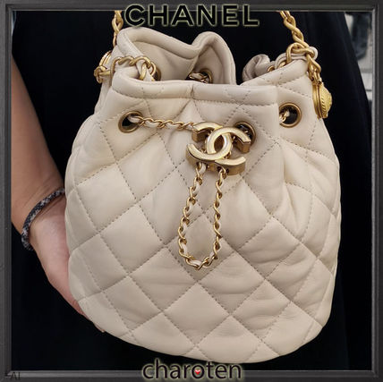 CHANEL ICON Casual Style Calfskin Blended Fabrics 3WAY Chain Plain