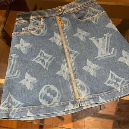 Louis Vuitton MONOGRAM Blurry Giant Monogram Denim Mini Skirt