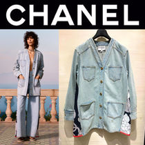 CHANEL ICON Casual Style Denim Street Style Plain Handmade Party Style