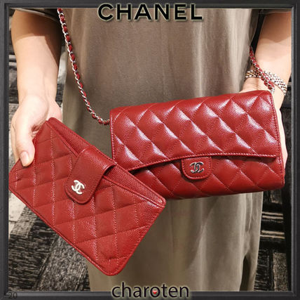 CHANEL CHAIN WALLET Calfskin Chain Plain Leather Bold Folding Wallet