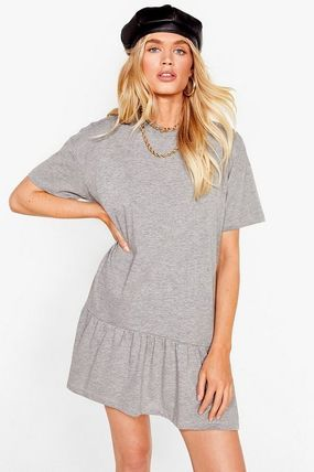 Crew Neck Short Casual Style A-line Flared Plain Cotton