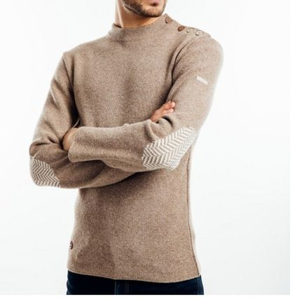 Wool U-Neck Long Sleeves Sweaters
