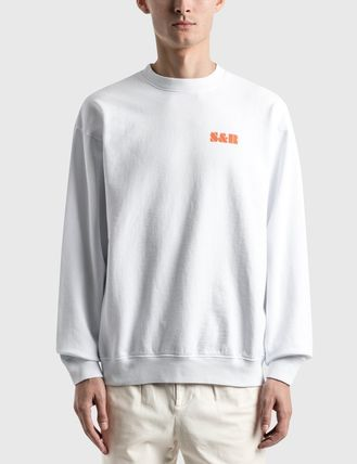 Crew Neck Long Sleeves Cotton Logo Sweatshirts