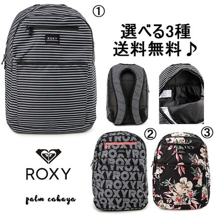 ROXY Stripes Flower Patterns Casual Style A4 Logo Backpacks