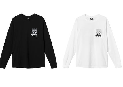 STUSSY Crew Neck Unisex Street Style Long Sleeves Cotton Oversized