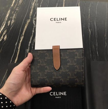 CELINE Triomphe Canvas Folding Wallet Logo Folding Wallets
