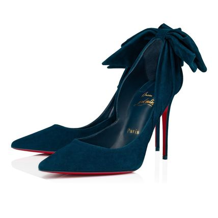 Christian Louboutin Casual Style Velvet Plain Pin Heels Party Style Office Style
