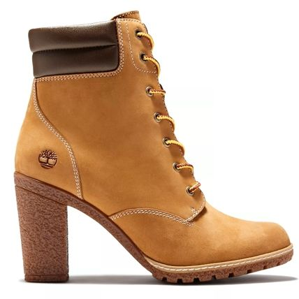 Timberland Round Toe Lace-up Casual Style Plain Leather Block Heels