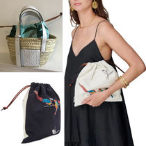 LOEWE Canvas Collaboration Leather Straw Bags