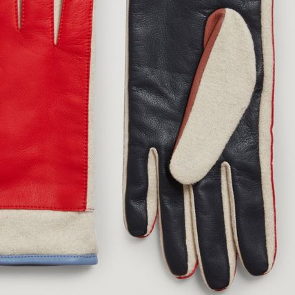 COS Wool Blended Fabrics Plain Leather