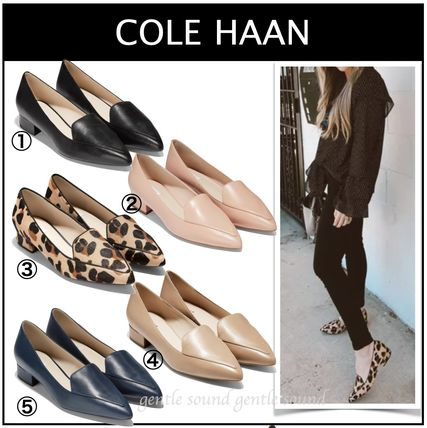 Cole Haan Leopard Patterns Casual Style Plain Leather Block Heels