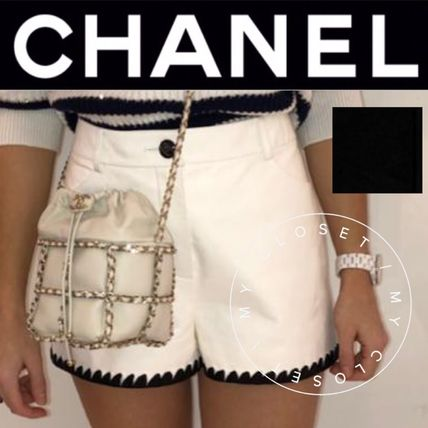 CHANEL ICON Short Casual Style Street Style Plain Leather Handmade