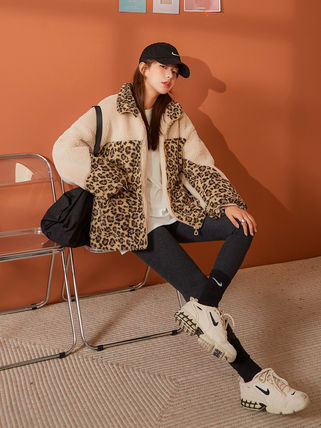 Short Leopard Patterns Casual Style Blended Fabrics Jackets
