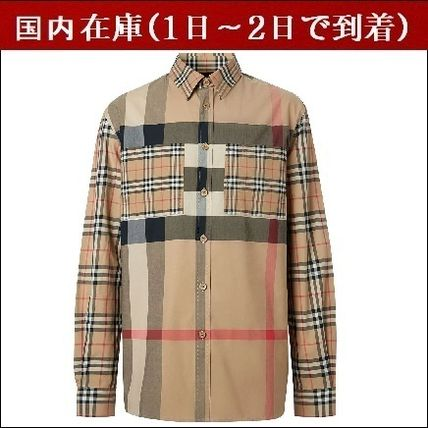 Burberry Shirts Other Plaid Patterns Unisex Street Style Long Sleeves Cotton