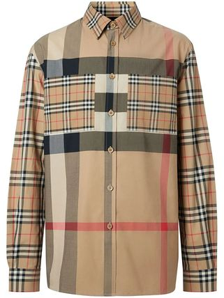 Burberry Shirts Other Plaid Patterns Unisex Street Style Long Sleeves Cotton 2
