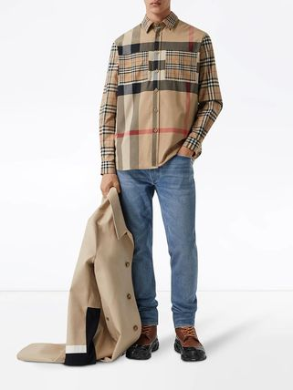 Burberry Shirts Other Plaid Patterns Unisex Street Style Long Sleeves Cotton 3