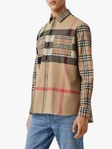 Burberry Shirts Other Plaid Patterns Unisex Street Style Long Sleeves Cotton 4