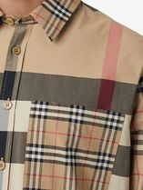 Burberry Shirts Other Plaid Patterns Unisex Street Style Long Sleeves Cotton 6