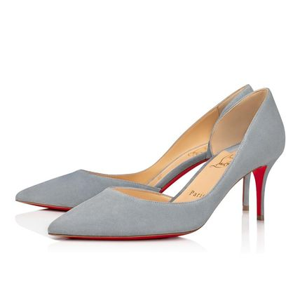 Christian Louboutin Casual Style Suede Velvet Street Style Plain Pin Heels