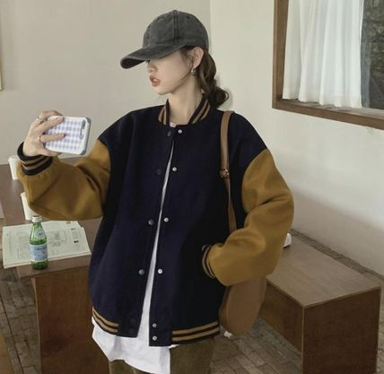 Casual Style Plain Medium Varsity Jackets