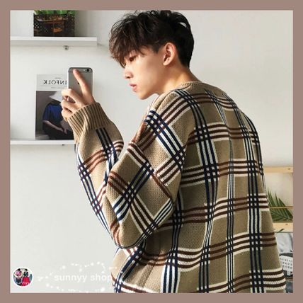 Sweaters Crew Neck Pullovers Other Plaid Patterns Street Style