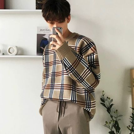 Sweaters Crew Neck Pullovers Other Plaid Patterns Street Style 2