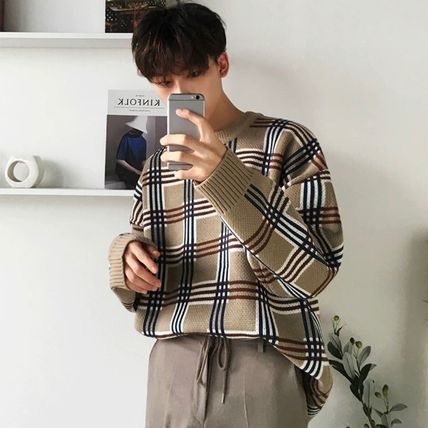 Sweaters Crew Neck Pullovers Other Plaid Patterns Street Style 3