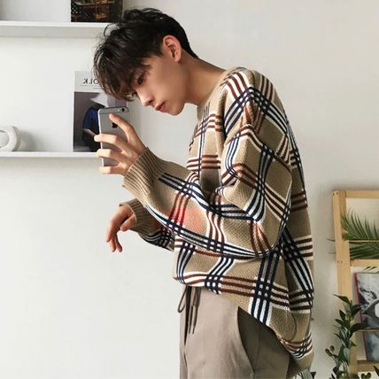 Sweaters Crew Neck Pullovers Other Plaid Patterns Street Style 4