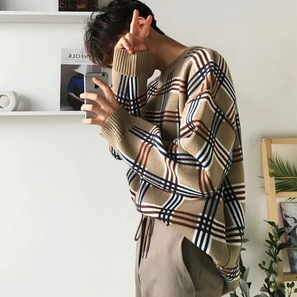 Sweaters Crew Neck Pullovers Other Plaid Patterns Street Style 5