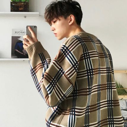 Sweaters Crew Neck Pullovers Other Plaid Patterns Street Style 6