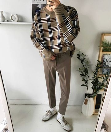 Sweaters Crew Neck Pullovers Other Plaid Patterns Street Style 7