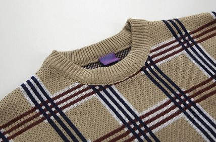 Sweaters Crew Neck Pullovers Other Plaid Patterns Street Style 8