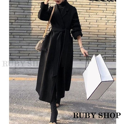 Wool Cashmere Nylon Bi-color Plain Long Party Style Midi