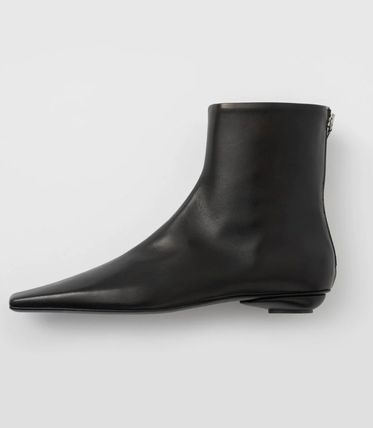 Square Toe Casual Style Plain Leather Flat Boots