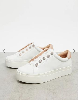 Platform Round Toe Rubber Sole Lace-up Casual Style