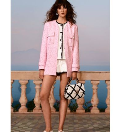 CHANEL Short Bi-color Leather Party Style Elegant Style