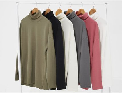 Unisex Street Style Long Sleeves Plain Oversized