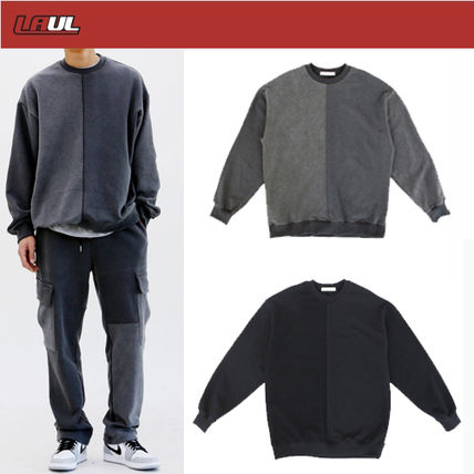 Street Style Long Sleeves Oversized Logo Sweatshirts