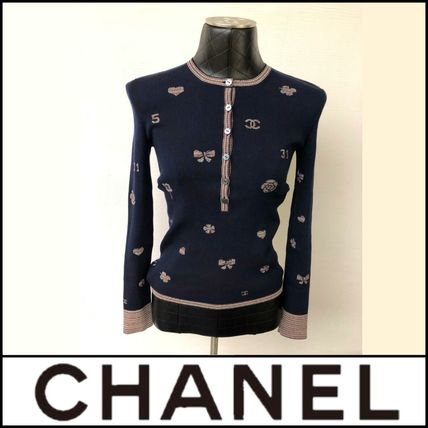 CHANEL Crew Neck Heart Lace-up Street Style Long Sleeves Medium