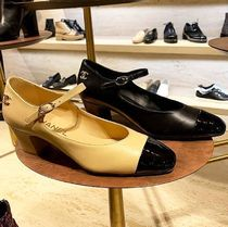 CHANEL ICON Square Toe Casual Style Plain Block Heels Office Style